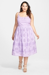 Adrianna Papell Cotton Eyelet Fit And Flare Midi Dress Plus Size Ice Violet