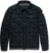 Moncler Nambour Black Watch Checked Wool Down Shirt Jacket Navy