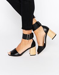 Truffle Collection Newdy Ankle Strap Mid Heeled Sandals Black Pu