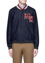 Maison Kitsune Logo Patch Check Teddy Jacket Blue