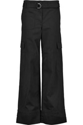 Helmut Lang Cotton And Linen Blend Wide Leg Pants Black