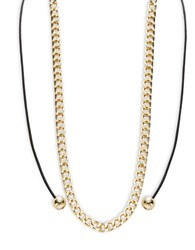 Design Lab Lord And Taylor Chainlink Cord Necklace Black Gold