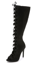 Schutz Ilene Open Toe Lace Up Boots Black