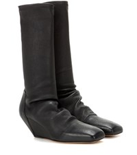 Rick Owens Leather Wedge Boots Black