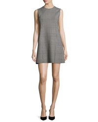 Theory Helaina Portland Plaid Shift Dress Black White