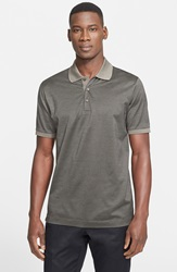 Canali Regular Fit Houndstooth Mercerized Polo Brown