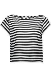 Milly Striped Cotton Blend T Shirt Black