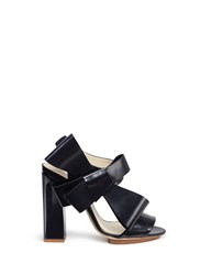 Delpozo Oversized Bow Applique Leather Sandals Black