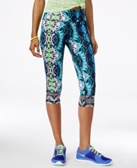 Material Girl Active Juniors' Printed Cropped Leggings Only At Macy's Snakeskin