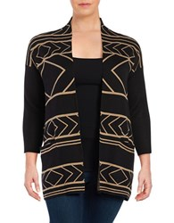 Context Plus Geometric Cotton Blend Cardigan Black Apple Cinnamon