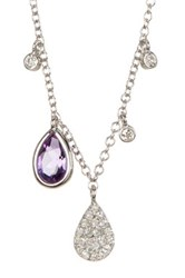 Meira T 14K White Gold Purple Amethyst Drop Necklace