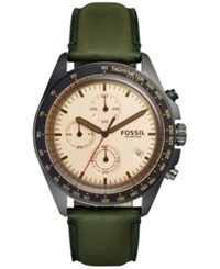 Fossil Men's Chronograph Sport 54 Green Leather Strap Watch 44Mm Ch3049