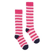 Joules Fab Fluffy Stripe Knee High Socks Hot Pink Blush