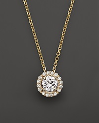Bloomingdale's Diamond Halo Pendant Necklace In 14K Yellow Gold .30 Ct. T.W. Gold White