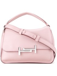 Tod's Logo Plaque Tote Pink And Purple