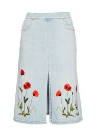 Stella Mccartney Janelle Embroidered Denim Skirt Blue
