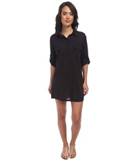 Lauren Ralph Lauren Camp Shirt Cover Up Black Women's Swimwear