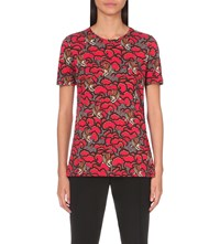 Sandro Wave Cotton Jersey T Shirt Rouge