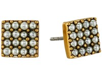 Marc Jacobs Pearl Square Studs Earrings Cream Antique Gold Earring