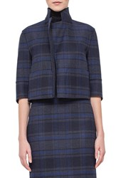 Women's Akris Reversible Check Print Double Face Wool Jacket