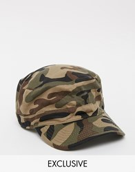 Reclaimed Vintage Army Cap In Camo Green