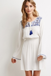 Forever 21 Embroidered Peasant Dress Ivory Royal