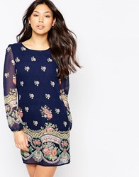 Yumi Long Sleeve Rose Print Shift Dress Navy