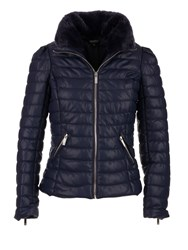 Morgan Faux Leather Down Jacket Navy