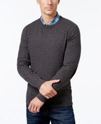 Tasso Elba Men's Big And Tall Chevron Sweater Only At Macy's Charcoal Heather