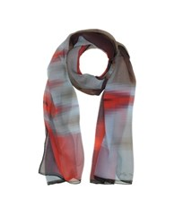 Mila Schon Gradient Red Light Blue And Stripe Print Silk Long Scarf