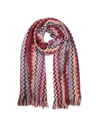 Missoni Zig Zag Viscose And Wool Lurex Long Scarf Red