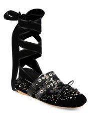 Miu Miu Strapped Studded Velvet Lace Up Ballet Flats Black