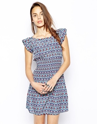 Iska Dress In Geo Tribal Print Blue