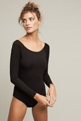 Anthropologie Long Sleeved Boatneck Bodysuit Black