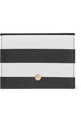 Dolce And Gabbana Striped Textured Leather Wallet Black