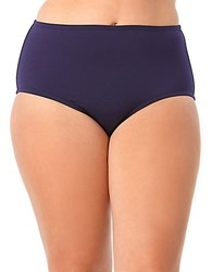 Anne Cole Womens Plus High Waist Tummy Control Bikini Bottoms Navy Blue