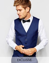 Selected Homme Exclusive Tuxedo Waistcoat In Skinny Fit Blue