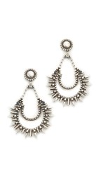 Dannijo Nanaya Earrings Ox Silver Clear Blue