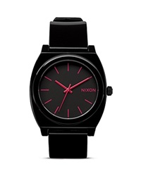 Nixon The Time Teller Buckle Strap Watch 40Mm Black Bright Pink