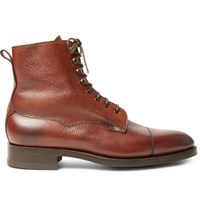 Edward Green Galway Cap Toe Pebble Grain Leather Boots Brick