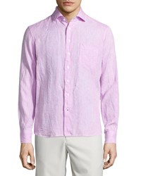 Neiman Marcus Linen Chambray Long Sleeve Button Front Shirt Pink
