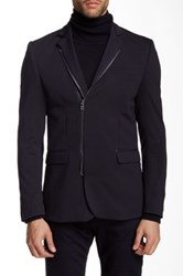 Ron Tomson Faux Leather Collar Double Zip Blazer Blue