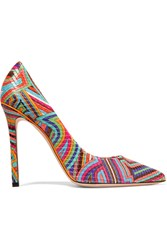 Emilio Pucci Quilted Printed Leather Pumps Pink