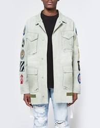 Off White Field Jacket With Patches Military Green