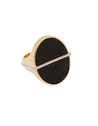 Rachel Zoe Black Leather And 12K Gold Stamp Ring