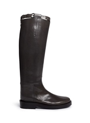 Ann Demeulemeester Buckle Strap Leather Riding Boots Green