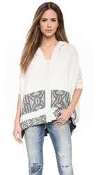 Twelfth St. By Cynthia Vincent Hooded Blanket Sweater Ivory