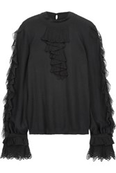 Roberto Cavalli Ruffled Wool Blend Sweater Black
