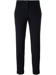 Etro Pinstripe Cropped Trousers Blue