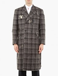 Thom Browne Grey Distressed Single Breasted Overcoat